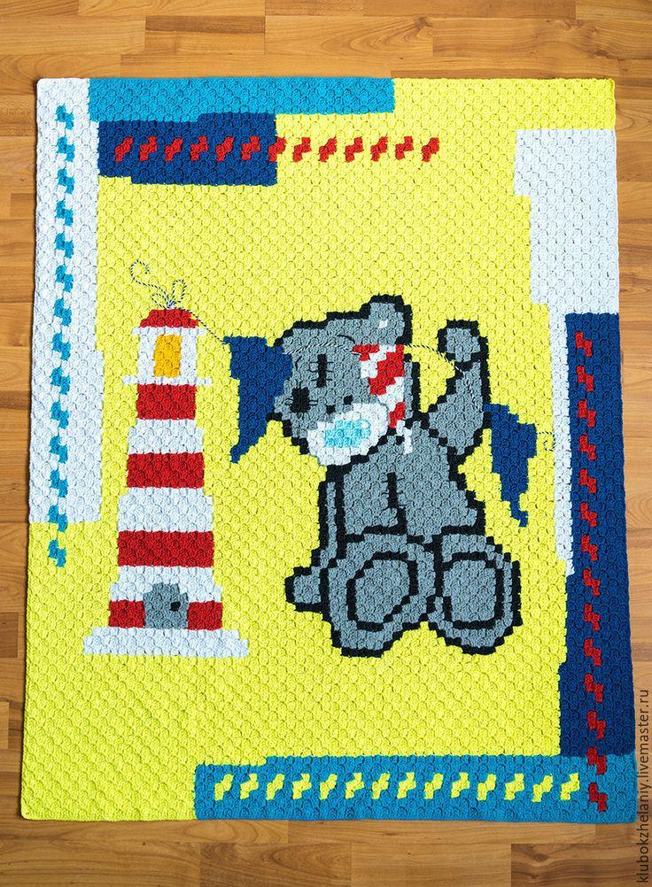 Baby summer outdoor blanket Crochet baby blanket Baby boy crochet blanket C2C blanket Baby blanket Teddy Baby blanket bear Blanket nursery
