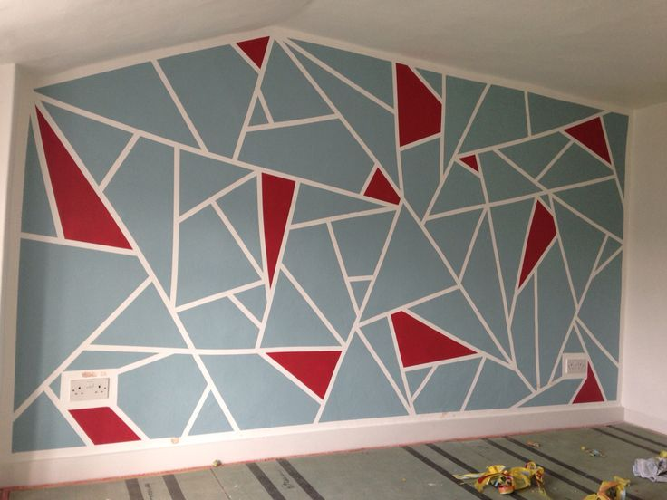 DIY Geometric Feature Wall. Frog Tape And Dulux Roasted Red And Blue  Reflection