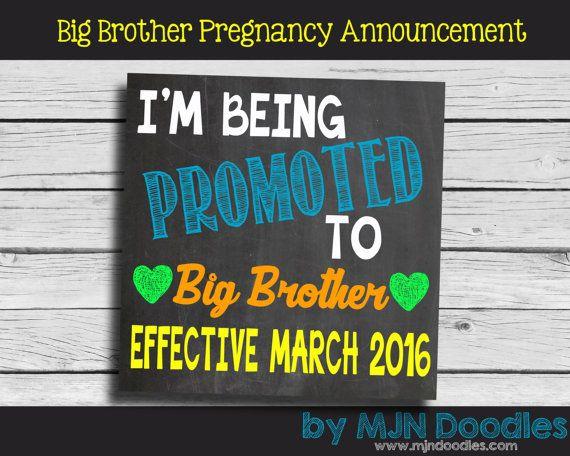 Pregnancy Announcement - Sibling Announcement - Big Brother Announcement - Facebook Announcement - Printable File - Hearts - Boy - Reveal