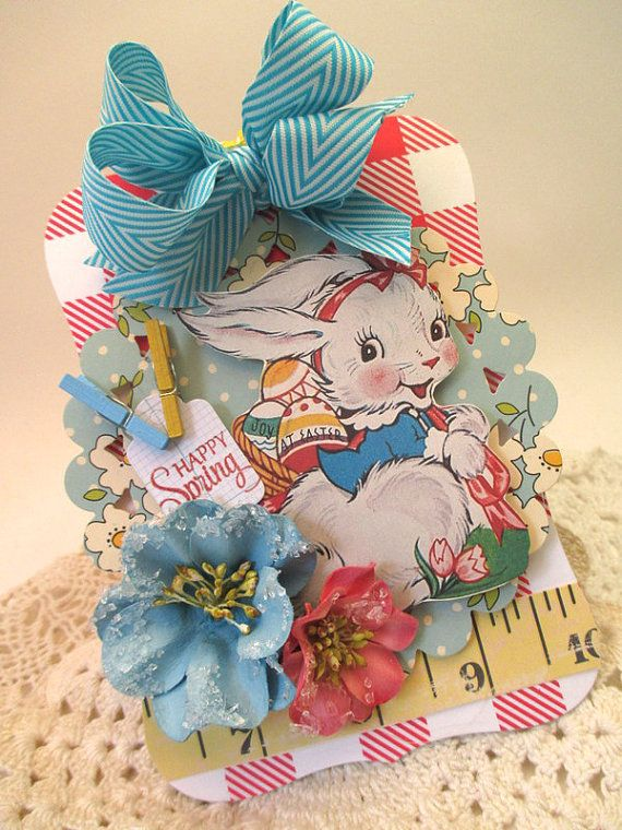 retro easter ornament-EASTER JOY HAPPY spring-bunny tag