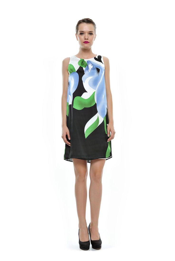 Rochie negru cu bleu si verde din matase RO70 de la Ama Fashion