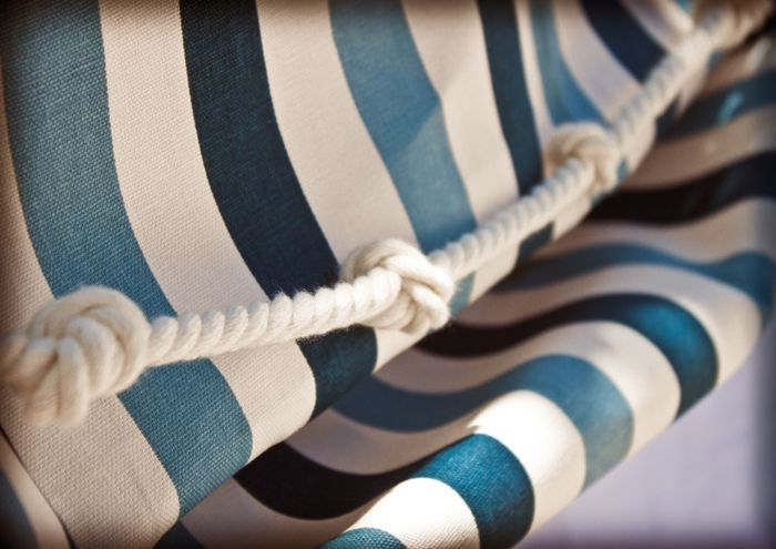 Knot Detail and the stripes as a table cover but in yellow and navy blue