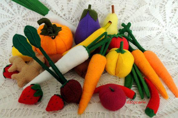 26 Felt Fruits Vegetables Felt Food Birthday Gift by decocarin