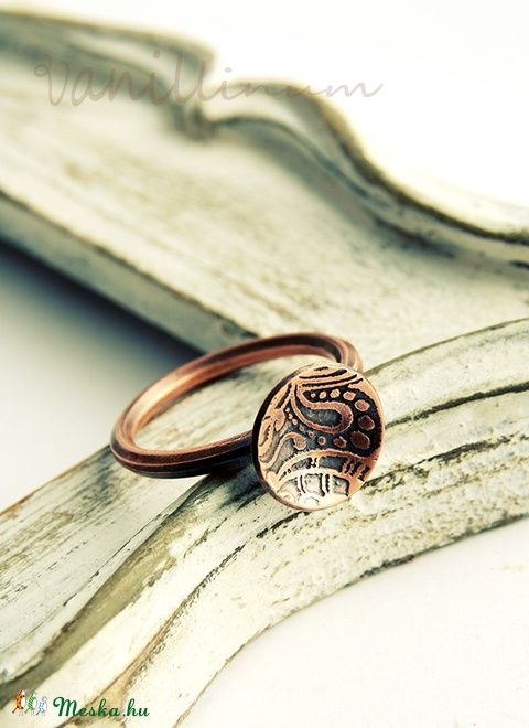 mararott korong vörösréz gyűrű (vanillinum) - Meska.hu
