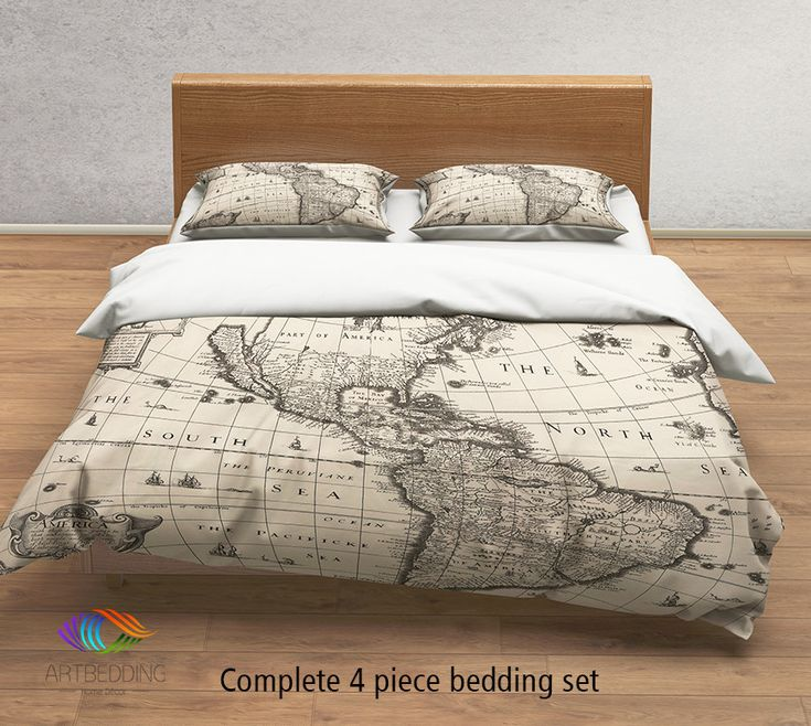 Vintage world map bedding, 1627 Antique Map of North and South America duvet cover set, steampunk old map comforter set