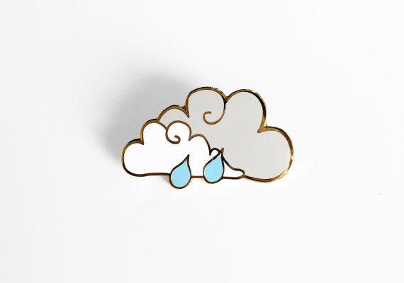 Rain Cloud Enamel Pin Sleepy Mountain Gold Pin by SleepyMountain