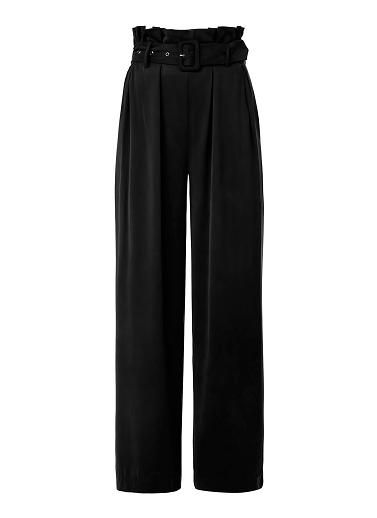 Modal Buckle Flare Pant. Comfortable fitting silhouette features a paper bag high waist with buckle tie and wide flare hem. Available in various colours as shown.