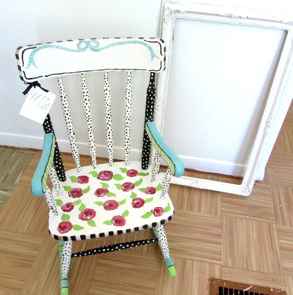 Painted Child Rocking Chair Girl Rocking Chair Baby by MollieBurd