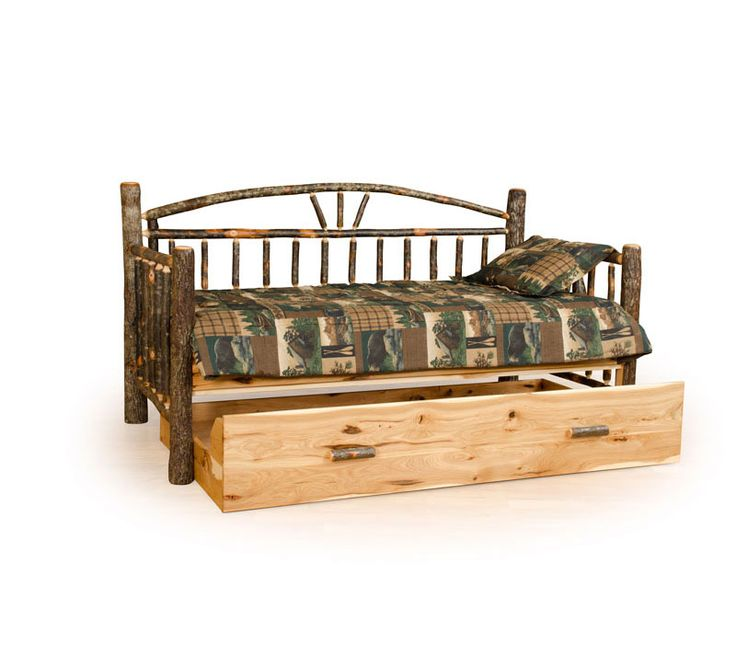 This rustic daybed is a great place to take a nap or catch up on your reading and with the trundle option you now have a couple of extra beds for visitors.