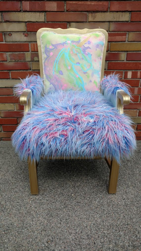 Accent Chair - Unicorn - Nursery - Faux Fur Chair - Watercolor Art - Splatter Paint Art