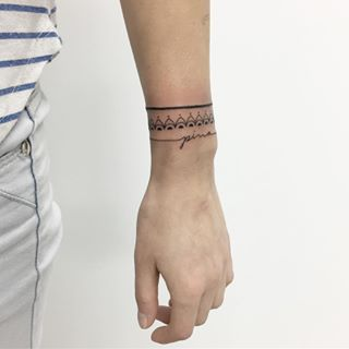 You can even mix several different styles to create your own unforgettable design. | Wrap around wrist tattoos, Wrist band tattoo, Line tattoos