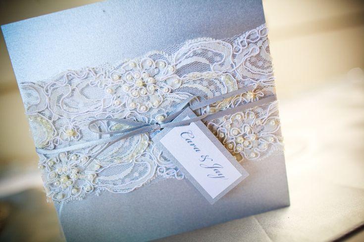 Beaded Lace Wedding Invitation