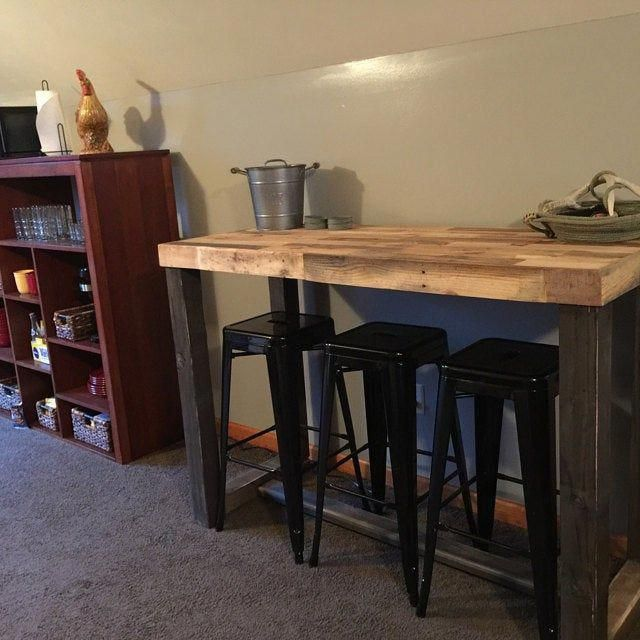 Reclaimed Wood Bar Table Restaurant Counter Community Communal Rustic Cafe Conference Office Pub High Top Long Thin Caster Wheels Power Usb In 2020 Wood Bar Table Bar Table Pub Table Sets