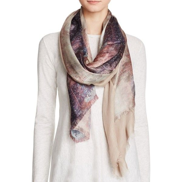 Echo Tapestry Tubular Scarf ($129) ❤ liked on Polyvore featuring accessories, scarves, cream, echo scarves and wrap shawl