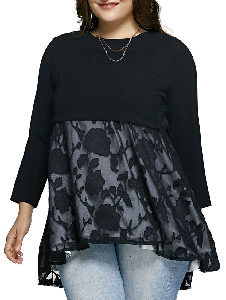 Plus Size Lace Spliced Asymmetric Dress