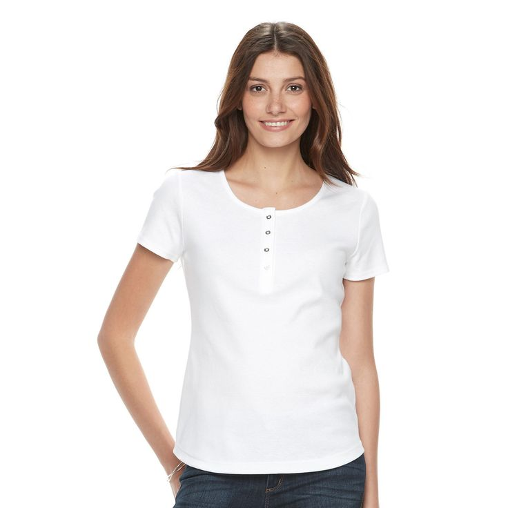Women's Croft & Barrow® Henley Tee, Size: Medium, White