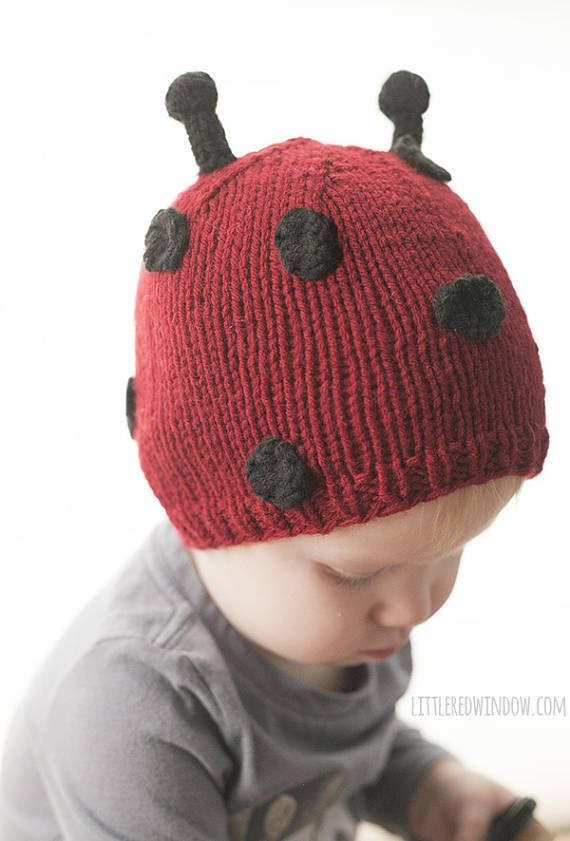 Baby V had a ladybug themed birthday party this year (when she turned ONE!) so I thought a Little Ladybug Hat Knitting Pattern was in order! Your little one will look cute in this bright red hat with black spots and adorable little antennae! Its a great pattern for beginners and the