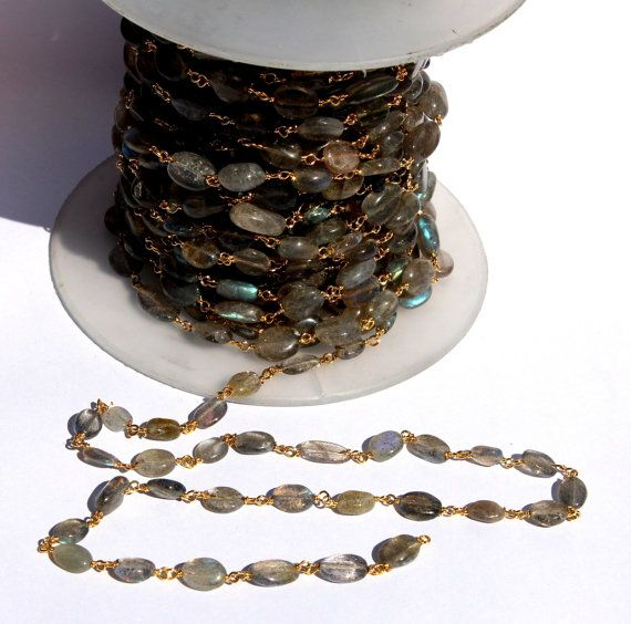 Natural Labradorite Smooth Oval Beaded Chain by RareGemsNJewels
