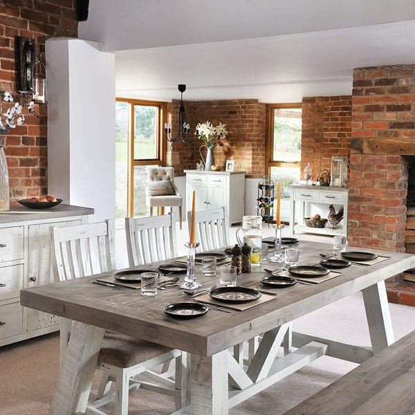 Large Dorset Reclaimed Wood Trestle Table Dining Set