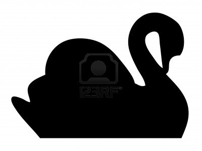 Swan silhouette Stock Photo