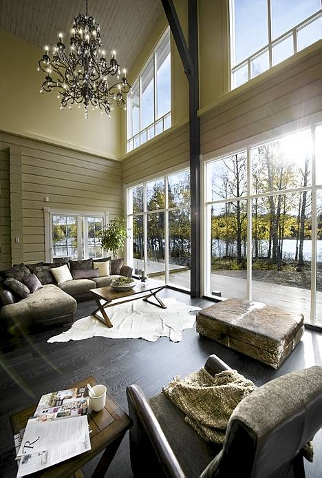 Combination of Finnish and American styles.  Brand new home of hockey player and his family at Kuopio.