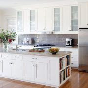 Book cabinet kitchen transitional with recessed downlights panelled doors recessed downlights