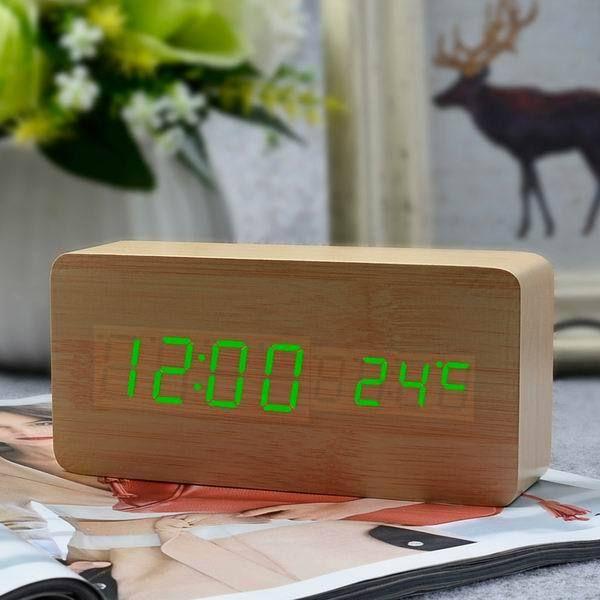 FiBiSonic Modern Home decor white LED Alarm Clock,saat Despertador Temp+date+time Electronic Digital Table Desktop Clocks