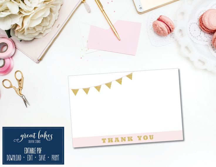 Gold Glitter And Pink Blush Thank You Cards, First Birthday Party Thank You  Cards, Pink And Gold Thank You Notes {INSTANT DOWNLOAD}