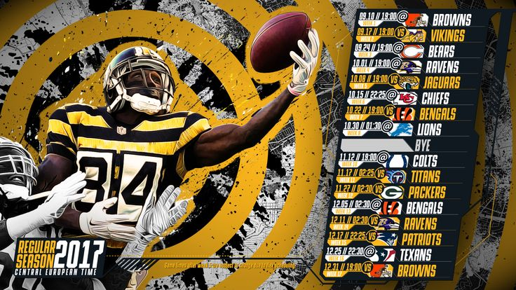 Schedule wallpaper for the Pittsburgh Steelers Regular Season, 2017 Central European Time. Made by #tgersdiy