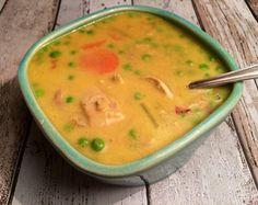 Kylling i karry-suppe med ris og grønt