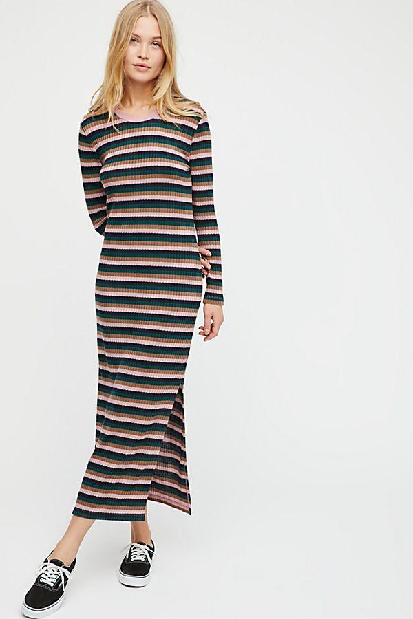 4316581bbfd Slide View 1  End Game Striped Midi Dress