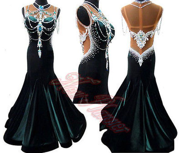 72817ccca Women Rhythm Ballroom Waltz Tango Dance Dress US 14 UK 16 Black White Blue  | Dancesport fashion | Dance dresses, Ballroom dress, Ballroom dance dresses