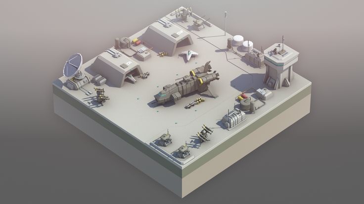 Isometric Spaceport low-poly