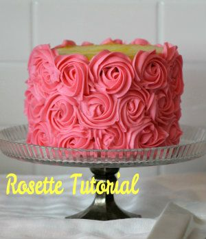 Frosting Flower Rosettes from A Blessed Life atop A Cake Stand: Cake Decorating 101: Simple Rosettes