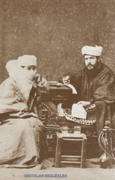 ARZUHALCI (Petition Writer) and an Ottoman lady. Istanbul, ca. 1900.