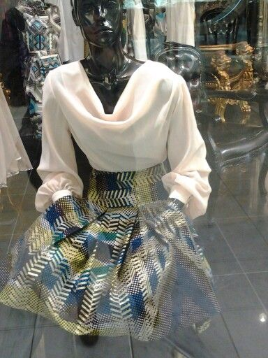 Silk chiffon drape neck blouse and a vlisco box pleated skirt...#african fabrics at its best♥