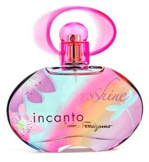 Incanto Shine was launched in March, 2007 by Salvatore Ferragamo. It is a fruity floral fragrance, in a colourful bottle adorned with carefree summer motives. It starts with fresh notes of pineapple, bergamot and passion fruit. Pink peony, freesia and peach are at its heart. The base consists of cedar, amber and musk. It was created by Karine Dubreuil.