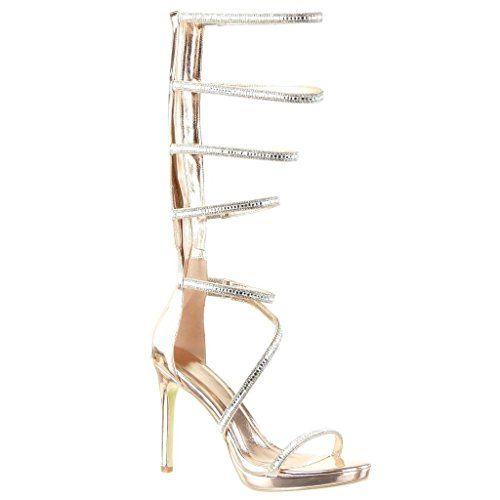 Angkorly - Scarpe da Moda sandali scarpe decollete gladiatore stiletto sexy donna tanga multi-briglia lucide Tacco Stiletto tacco alto 11 CM - Champagne 238-1 T 38