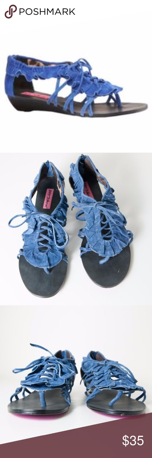 """⚡️FLASH SALE Betsey Johnson Cicii Sandal Suede Feminine ruffles and open air lacing details lend a dramatic vibe to a suede sandal styled with lacing details. Zip back closure. Multiple criss-crossed side straps. Suede upper, satin lining, synthetic sole. Size 8.5. Preloved condition. Some fraying on sandals, see photos. Heel measures approximately 1.25"""" Betsey Johnson Shoes Sandals"""