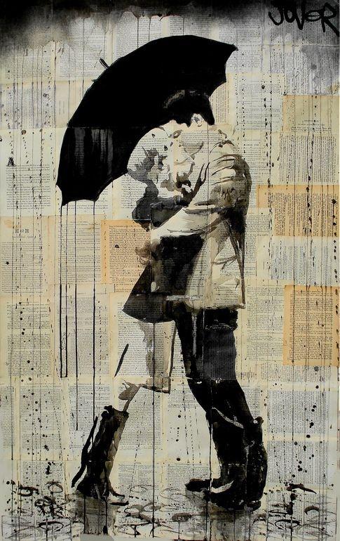 "Saatchi Online Artist: Loui Jover; Ink 2013 Drawing ""black umbrella"""