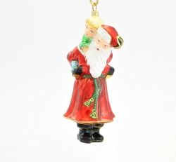 Santa with Child on Shoulders - Polishchristmasornaments