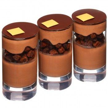 Pierre Hermé Émotion Infiniment Chocolat | Chocolate gelée, moist chocolate cake, chocolate shortbread biscuit with fleur de sel, chocolate Chantilly cream.