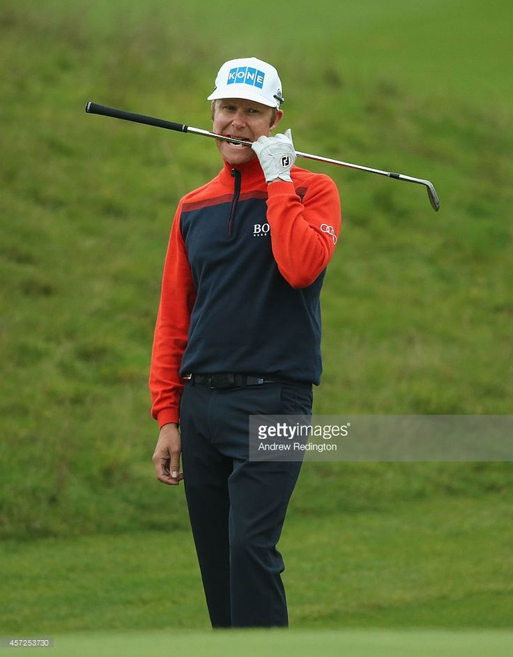 Mikko Ilonen of Finland reacts after his chip shot on the 18th hole during the first round matches of the Volvo World Match Play Championship at The London Club on October 15, 2014 in Ash, United Kingdom.