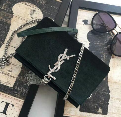 YSL BAGS 2018 Saint Laurent Kate Chain and Tassel Wallet in dark GREEN 00594673f5904