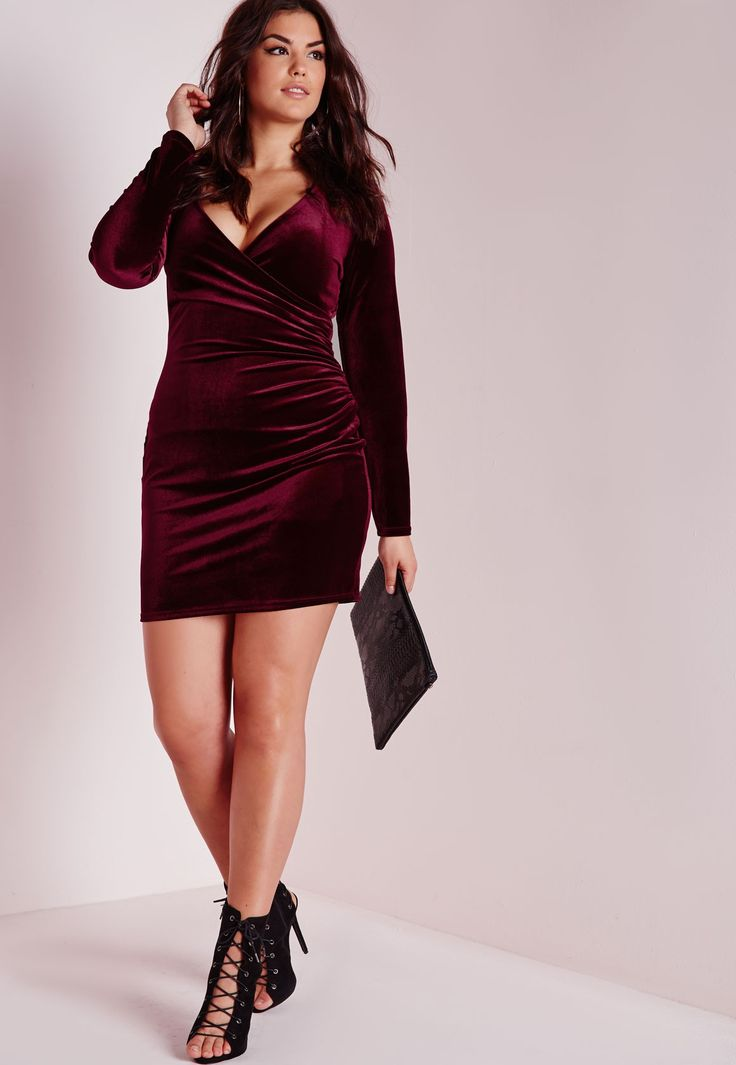 Missguided - Plus Size Velvet Wrap Front Dress Burgundy