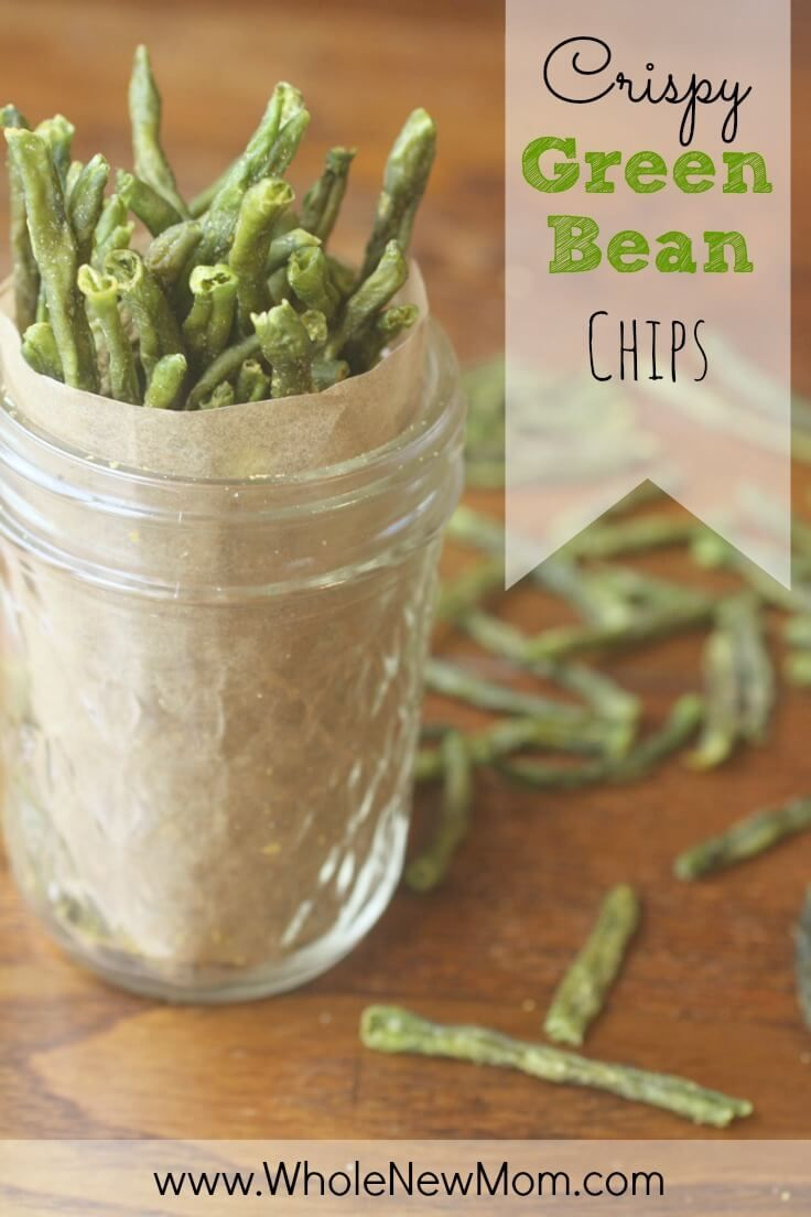 Looking for healthy snacks? This Addictive Green Bean Chips recipe is super easy and they are so much healthier than the store bought veggie chips. Skip the GMO canola oil from the packaged veggie chips and make these instead.