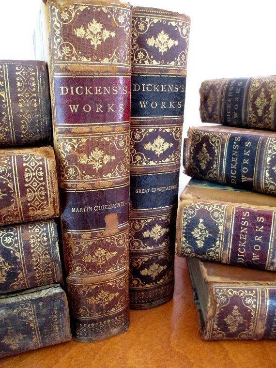 Antique books Dickens fifteen volume set by vintageboxofdelights, $175.00