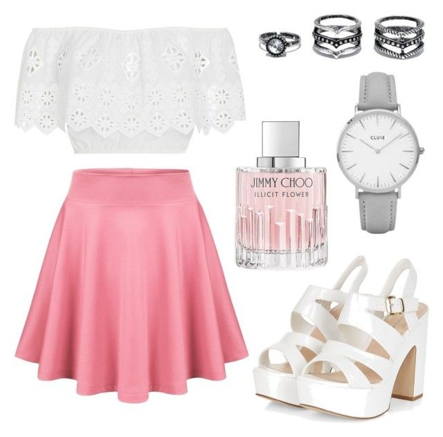 """Pretty in pink"" by tovenilsen on Polyvore featuring Miguelina, Jimmy Choo, Topshop and LULUS"