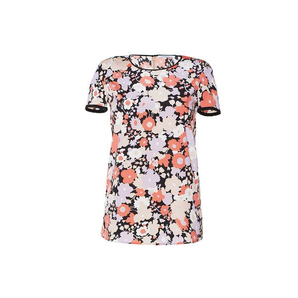 Agnona Short Sleeve Floral T Shirt (3.750 RON) ❤ liked on Polyvore featuring tops, t-shirts, agnona, floral t shirt, print tees, floral tops, print t shirts and floral tee
