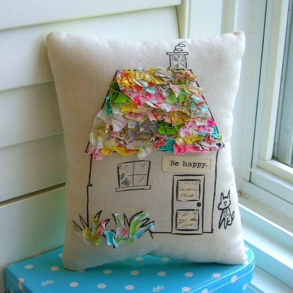 House pillow fabric scrap  pillow appliqued от tracyBdesigns                                                                                                                                                                                 More